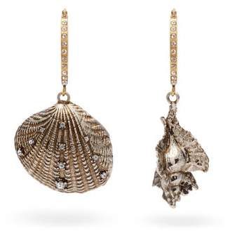 Alexander McQueen Shell Silver And Gold Tone Brass Earrings - Womens - Silver