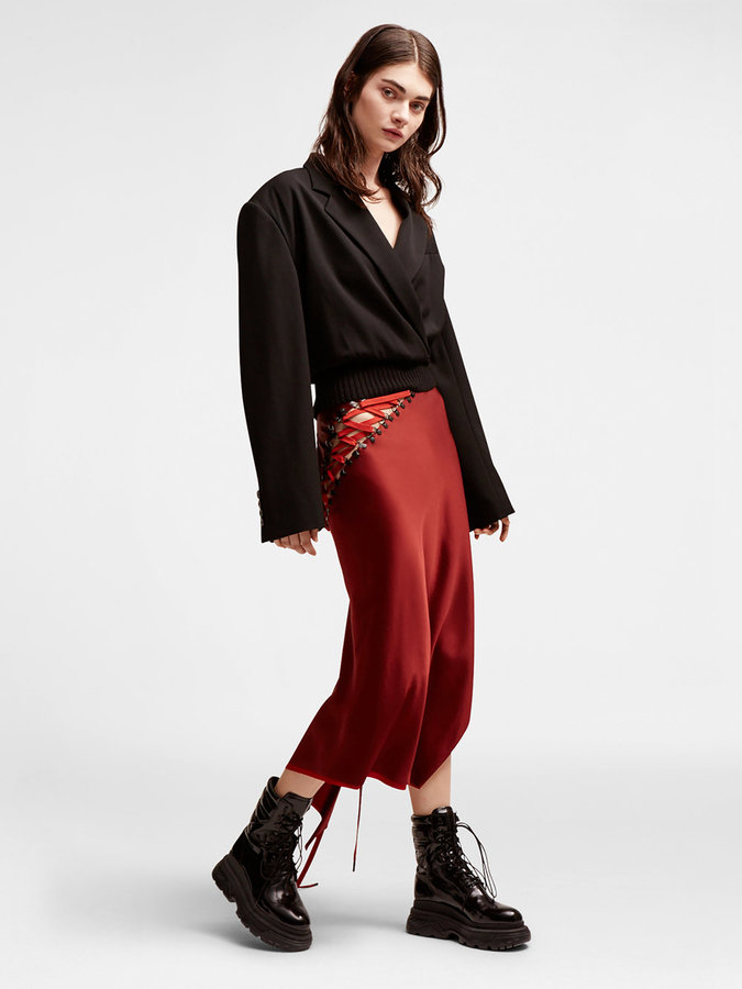 DKNYLace Up Maxi Skirt