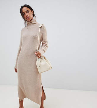 Asos DESIGN Petite sweater dress in midi length with side splits