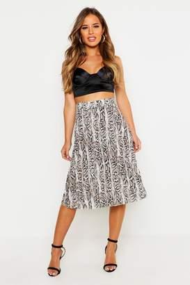 boohoo Petite Snake Print Pleated Midi Skirt