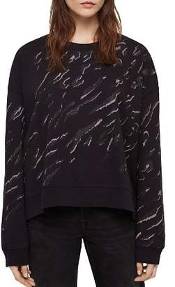 AllSaints Lo Aslan Metallic Animal Print Sweatshirt