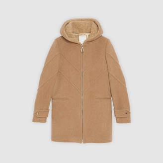 Sandro Hooded woolcloth coat