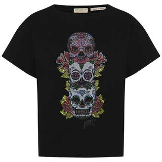 MET METGirls Black Diamante Skulls Top