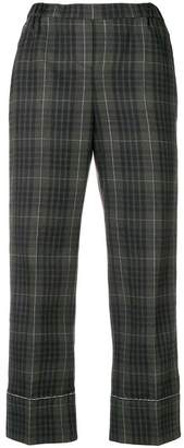 No.21 checked print cropped trousers