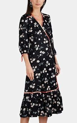 By Ti Mo byTiMo Women's Ribbon-Trimmed Floral Satin Wrap Dress - Black