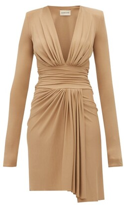 Alexandre Vauthier Draped Plunge Neckline Crepe Dress - Womens - Beige