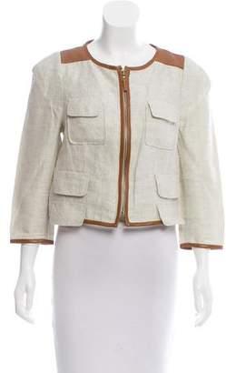 Tibi Linen Leather-Trimmed Jacket