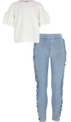 River Island Girls white frill sleeve top outfit