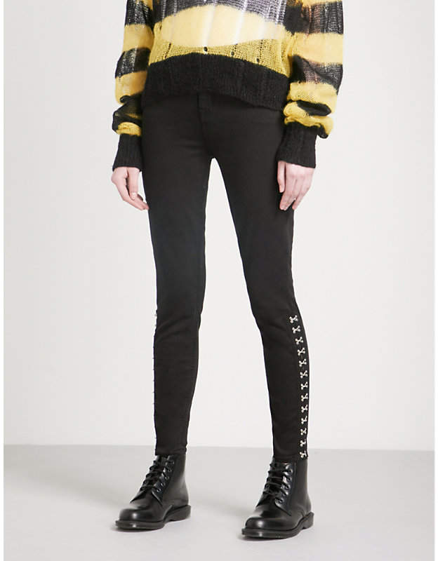 Hook-and-eye detail skinny high-rise jeans