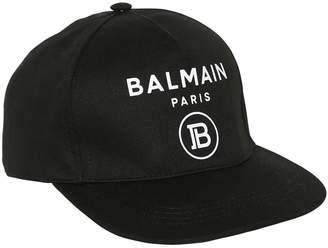 Balmain Logo Print Cotton Baseball Hat