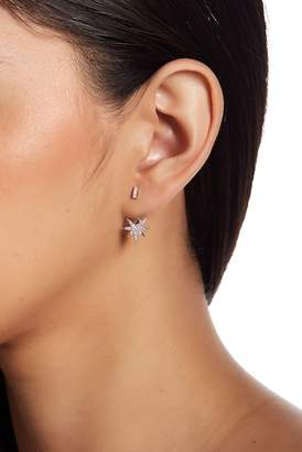 Shashi Fatima 18K White Gold Vermeil Pave Crystal Starburst Jacket Earrings