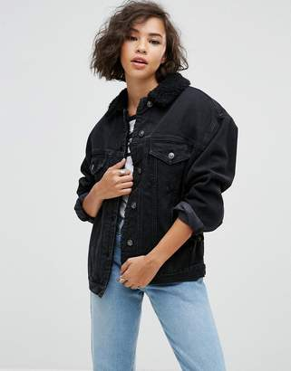 Asos Denim Borg Jacket in Washed Black