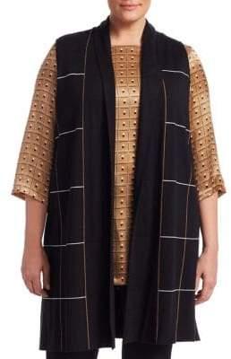 Marina Rinaldi Marina Rinaldi, Plus Size Miocene Wool-Blend Jacquard Long Vest