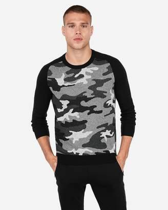 Express Camo Print Crew Neck Sweater