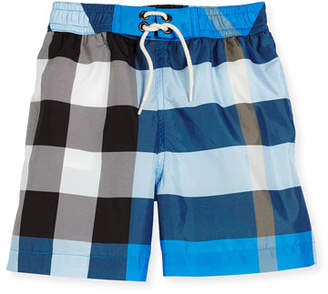 Burberry Jeffries Check Swim Trunks, Blue, Size 4-14 $95 thestylecure.com