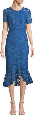 Shoshanna Edgecombe Bodycon Lace Dress w/ High-Low Hem