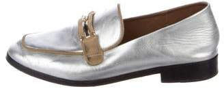 NewbarK Metallic Square-Toe Loafers