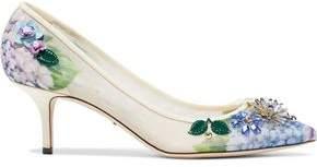 Dolce & Gabbana Embellished Floral-Print Mesh Pumps
