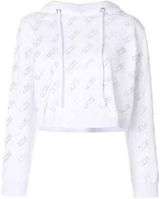 GCDS logo print cropped hoodie