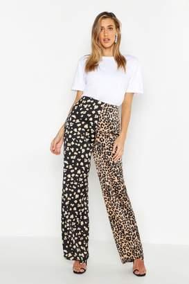 boohoo Leopard Satin Splice Wie Leg Pants