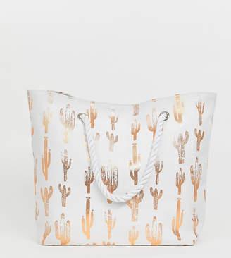 South Beach Exclusive rose gold cactus print beach bag