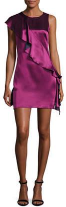 Diane von Furstenberg Sleeveless Crossover-Ruffle Satin Cocktail Dress