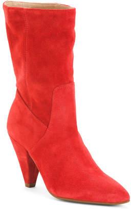 Cone Heel Suede Boots