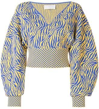 Esteban Cortazar cropped volume v-neck knit blouse