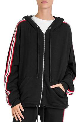 The Kooples Fleece Sleeve-Stripe Zip Hoodie