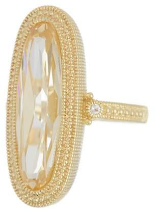 Judith Ripka 14K Gold Plated Sterling Silver Rio Elongated Oval Stone Ring - Size 7
