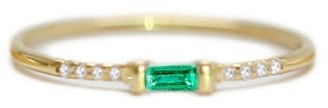 Ri Noor Emerald Baguette & Pave Round Diamond Ring