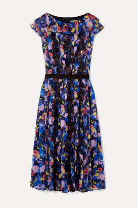 Jason Wu Collection - Belted Lace-trimmed Pleated Floral-print Chiffon Dress - Purple