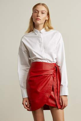 Genuine People Oversized High Low Collar Blouse