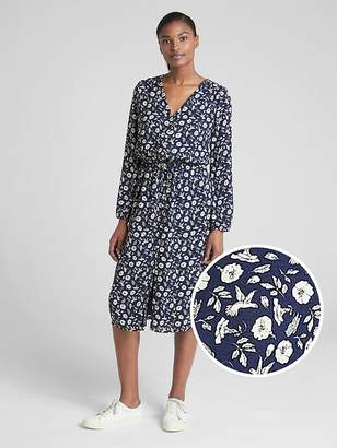 Gap Long Sleeve Button-Down Midi Dress
