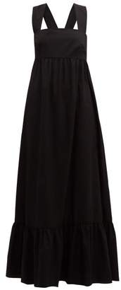 Borgo de Nor Mila Crossover Back Cotton Poplin Maxi Dress - Womens - Black