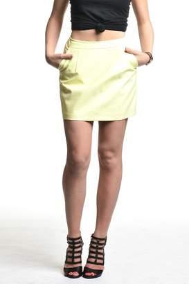 Blaque Label Yellow Vegan Leather Skirt