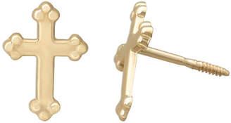FINE JEWELRY Children's 14K Yellow Gold Cross Stud Earrings
