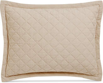 Martha Stewart Collection Closeout! Collection Linen-Cotton Broadstitch Diamonds Quilted Standard Sham, Created for Macy's, Tan