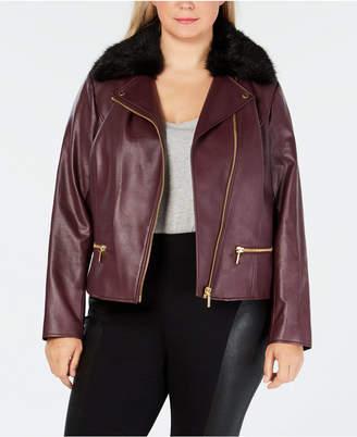 Michael Kors Plus Size Faux-Leather Moto Jacket