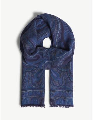 Etro Paisley print wool-silk blend scarf