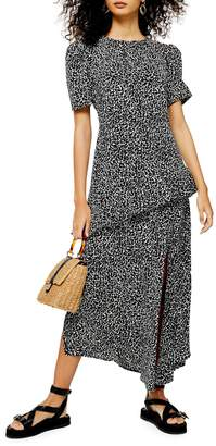 Topshop Animal-Print Slit Ruffle Midi Dress