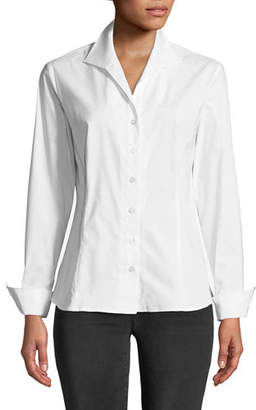 Finley Revere-Collar Poplin Shirt w/ French Cuffs