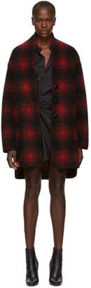 Etoile Isabel Marant Black and Red Gabrie Wool Coat