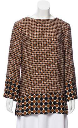 Michael Kors Silk Printed Long Sleeve Top