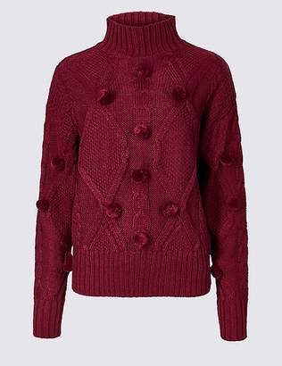 Marks and Spencer Pom Pom Turtle Neck Jumper