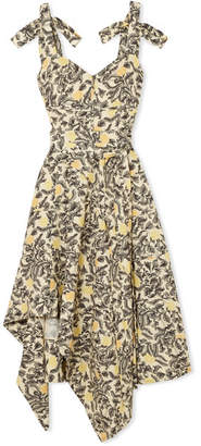 Proenza Schouler Asymmetric Floral-print Georgette Midi Dress - Pastel yellow