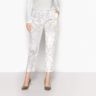 Anne Weyburn Floral Print Silk Style Cigarette Trousers, Length 27""