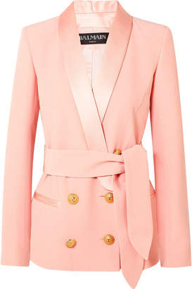 Balmain Belted Double-breasted Crepe Blazer - Baby pink