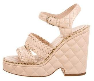 Chanel 2015 Quilted Chain-Link Sandals
