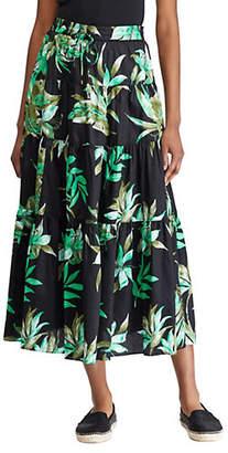 Lauren Ralph Lauren Tiered Fern-Print Cotton Midi Skirt